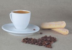 Coffee heart and cup of espresso. Background royalty free stock image