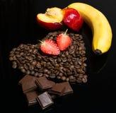 Coffee heart juicy multifruit. Coffee heart multifruit Stock Image