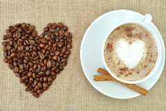 Coffee with heart shape Royalty Free Stock Photos