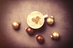 Coffee with heart shape and christmas bubbles Stock Photo