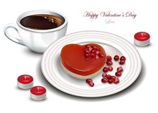Coffee and Heart shape dessert Vector realistic. Sweet Romantic Valentine day cards. Coffee and Heart shape dessert Vector realistic. Sweet Romantic Valentine stock illustration