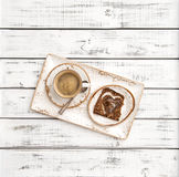 Coffee heart shaped bread Valentines Day breakfast decoration Stock Photos