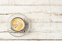 Coffee with heart shaped bubbles Stock Images