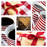 Coffee and heart shaped cookies Royalty Free Stock Photo