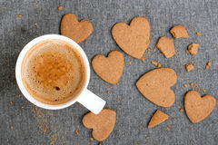 coffee and heart shaped cookies Stock Photography