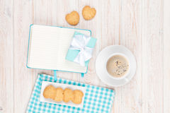 Coffee, heart shaped cookies and notepad Royalty Free Stock Photography