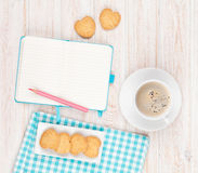 Coffee, heart shaped cookies and notepad Royalty Free Stock Image