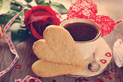 Coffee and heart shaped cookies for valentine in vintage style Stock Photos