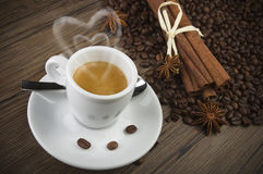 Coffee with heart of steam Royalty Free Stock Photo