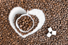 Coffee Heart and Sugar. Cup of coffee and heart of sugar Stock Image