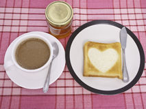 Coffee and Heart Toast Stock Photography
