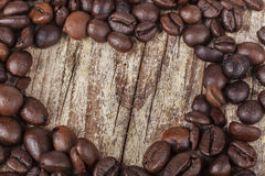 Coffee Heart on Wood Stock Photo