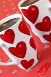 Coffee with hearts Royalty Free Stock Images
