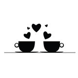 Coffee with hearts black vector silhouette Royalty Free Stock Photo