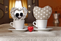 Coffee Hearts Valentine's day. Love drinking a cup of coffee for valentine Stock Photography