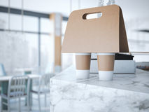 Coffee Holder on the table . 3d rendering Stock Photography
