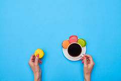 Coffee and homemade confection. Over blue flatlay Royalty Free Stock Photo