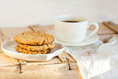 Coffee and homemade cookies. Cup of coffee and homemade cookies Royalty Free Stock Image
