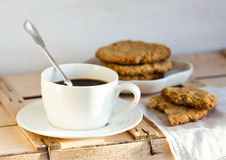 Coffee and homemade cookies. Cup of coffee and homemade cookies Royalty Free Stock Images