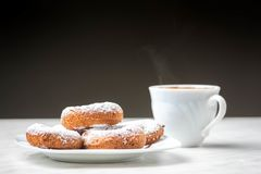 Coffee and  homemade donuts stock photos