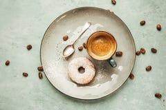 Coffee and homemade doughnut. Stock Photos
