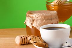 Coffee, honey and cookies. On table Royalty Free Stock Photography