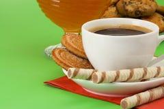 Coffee, honey and cookies Stock Photos