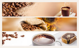 Coffee horizontal banners Royalty Free Stock Photos