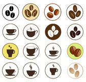 Coffee and hot beverages button set Royalty Free Stock Photography