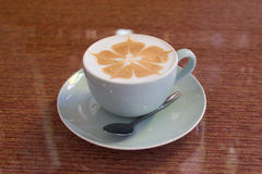 Coffee. Hot cappuccino Increases in the afternoon Royalty Free Stock Images