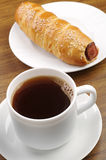 Coffee and hot dog Royalty Free Stock Images