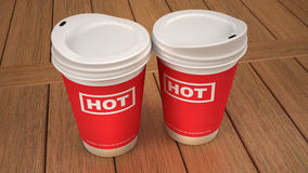 Coffee or hot drink in disposable cup. The image shows the sociability aspect of coffee Stock Image