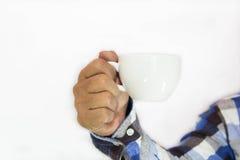 Coffee. Hot coffee in hand businessman Stock Photo