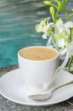Coffee. Hot Coffee nearly the pool Royalty Free Stock Photos
