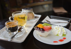 Coffee with hot tea. And fruit mousse , food closeup Royalty Free Stock Image