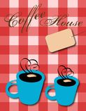Coffee House. Computer illustration. Two coffee mugs on a red checkered tablecloth, blank price tag Stock Photography