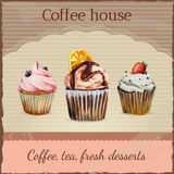 Coffee house advertisement with watercolor Stock Photo