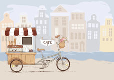 Coffee house on bicycle Royalty Free Stock Image