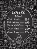 Coffee house chalkboard menu. With a central oval frame with the price list surrounded by assorted coffee icons  white vector illustration on black Stock Photos