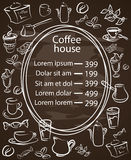 Coffee house chalkboard menu with a central oval frame. With the price list surrounded by assorted coffee icons white vector illustration on black Stock Photography