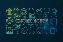 Coffee house colored illustration. Vector cafe concept banner. Coffee house horizontal colored illustration. Vector cafe concept banner made with line coffee Royalty Free Stock Images