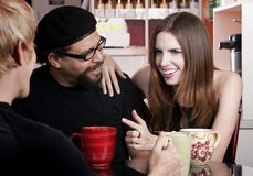 Coffee House Conversation Stock Photo