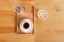 Coffee house counter background with coffe cup, top view Stock Photography