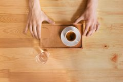 Coffee house counter background with coffe cup, top view Stock Photos