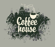 Coffee house with a cup Royalty Free Stock Photos