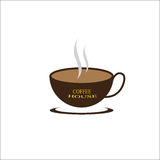 Coffee house vector. A cup of coffee in white background with yellow letter Stock Photo