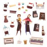 Coffee House Decorative Icons Set Stock Photo
