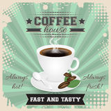 Coffee house grunge poster design with halftone effect. Coffee cup, spoon, coffee beans, plate, leaves and steam. Royalty Free Stock Photography