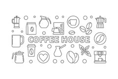 Coffee house horizontal illustration - vector concept banner. Coffee house horizontal illustration. Vector cafe concept banner made with line coffee icons Royalty Free Stock Photos