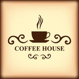 Coffee house icon on blur light brown background Stock Photo
